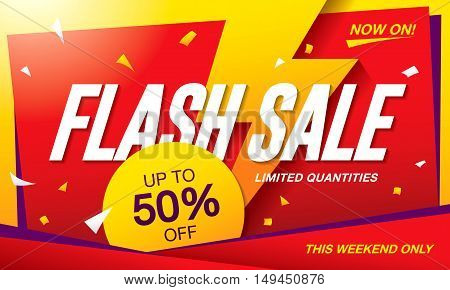 Flash sale banner template design. Yellow flash on a red background