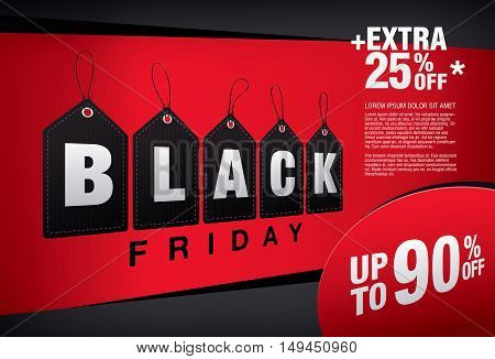 Black friday sale banner. Vector tags on a red background