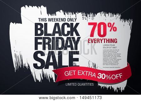Black friday sale banner. Vector brush stroke background