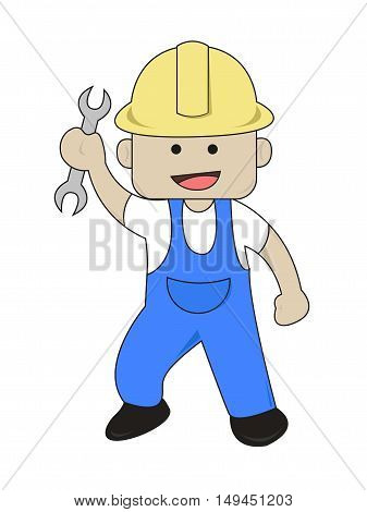 Worker Bring Open End Wrench Flat Cartoon Illustration