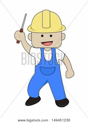 A Worker Bring Screwdriver Flat Cartoon Illustration
