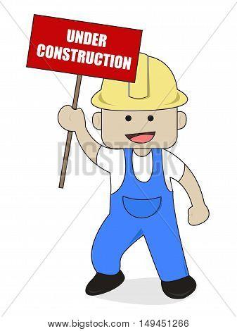 Worker Bring Under Construction Sign Flat Cartoon Illustration