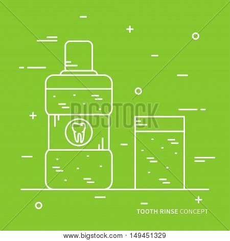 Dental tooth rinse linear vector illustration. Dental tooth care technology creative concept. Healthy tooth hygiene oral mouth symbol. Clean tooth prevention graphic design.