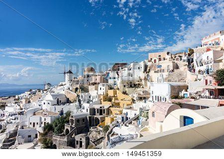 Panorama of Oia village in Santorini (Grrece)