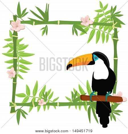 Vector illustration tropical island frame border poster with exotic flowers plants and birds. Bamboo frame. Toucan