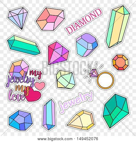 Fashion patch badges. Stickers, pins, patches and handwritten notes collection in cartoon 80s-90s comic style. Diamonds and jewelry set. Vector illustration isolated on transparent background. Vector.