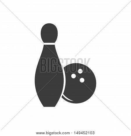 Bowling icon. Bowling Vector isolated on white background. Flat vector illustration in black. EPS 10