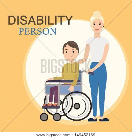 Disabled child in a wheelchair with social worker. Helping moving around and spending time together. Vector illustration of a flat design
