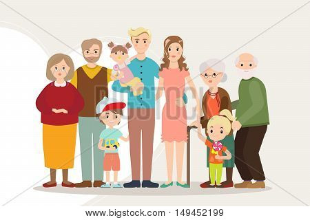 Big happy family portrait parents with disabled child. Father, mother, kids, grandpa, grandma. Several generations. Vector illustration