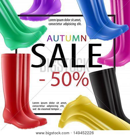 Rain Boots Sale Autumn Banner Fall Rubber Shoes
