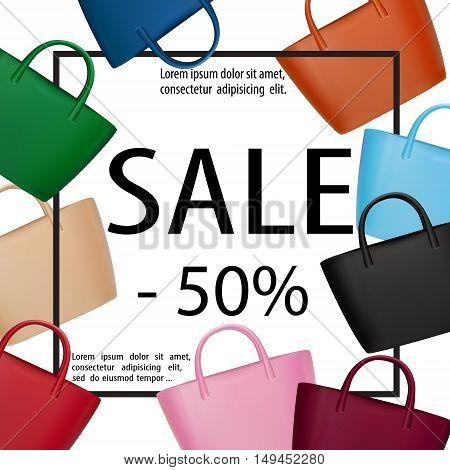 Bags Women Sale Banner Lady Fashion Frame Black