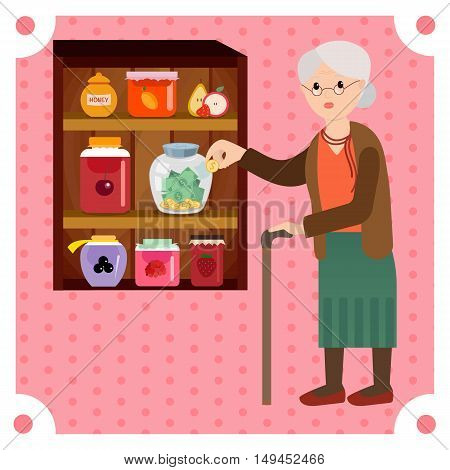 Grandmother saves money in bank for jam. Grandma enjoy her retired money for grandchildren. Elderly woman in vector flat cartoon illustration.