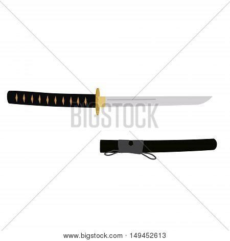 Vector illustration japanese tanto sword with scabbard. Samurai sword traditional weapon