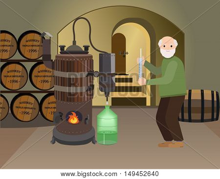 Grandpa makes alcohol whiskey drink in the basement. Copper distiller makes an alcoholic drink . Distillation machine. Drink made from Braga. Vector flat cartoon illustration