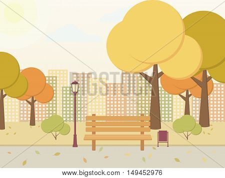 City park in autumn. Parkway bench street light trees with yellow leaves. Vector illustration on a beige background.