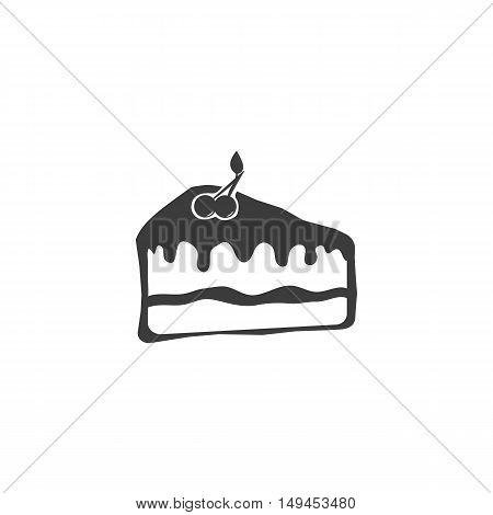 Cake icon. Cake Vector isolated on white background. Flat vector illustration in black. EPS 10