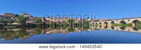 Panoramic view of Zamora in Spain from the Douro river.