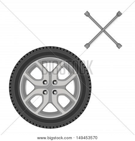 Vector illustration car wheel and two crossed metal car wrench. Car tire. Transport wheel