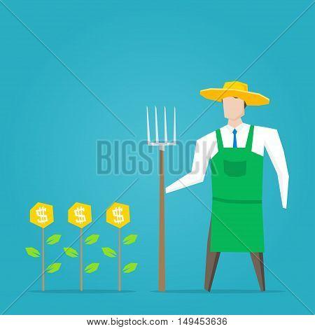 Businessman farmer with dollar plants vector illustration. Business character creative concept.