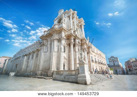 SYRACUSY, SICILY, ITALY - JUNE 26, 2016: Cathedral of Syracuse. Travel Photography from Syracuse, Italy on the island of Sicily. Cathedral Plaza