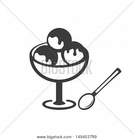 Ice cream icon. Ice cream Vector isolated on white background. Flat vector illustration in black. EPS 10