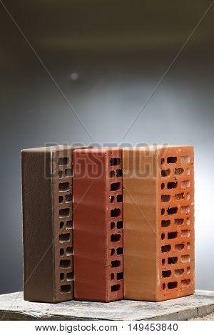 Closeup view of bricks with holes studio shot