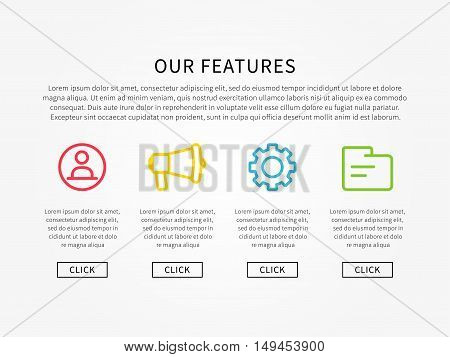 Our features webpage layout vector illustration. Webpage template about company services and products.