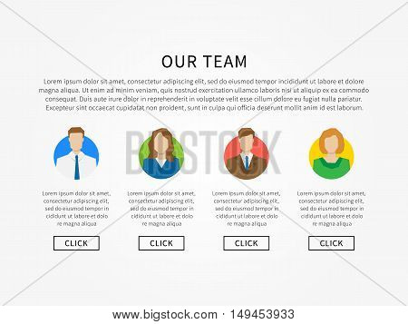Our team webpage template vector illustration. Company team webpage template creative concept.