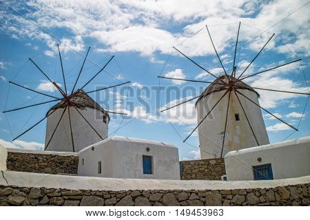 Local typical windmills in Mykonos (Greece) - Panorama