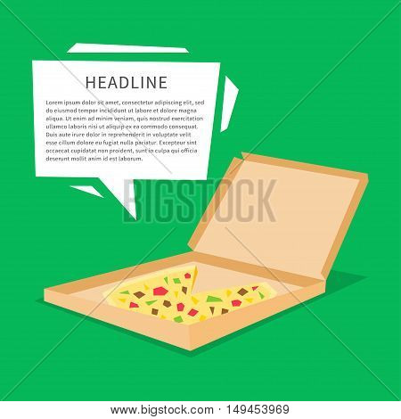 Pizza in the box vector illustration. Banner for pizza delivery creative concept.