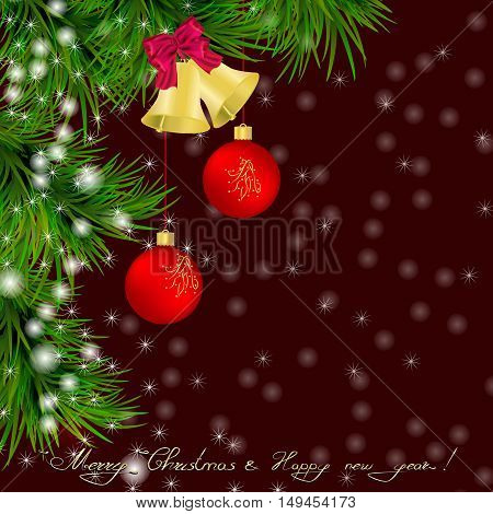 Christmas and New Year Greeting card with Christmas tree jingle bells and bow