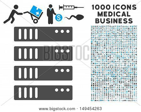 Server icon with 1000 medical business gray and blue vector design elements. Set style is flat bicolor symbols white background.
