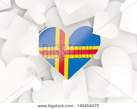 Flag Of Aland Islands, Heart Shaped Stickers