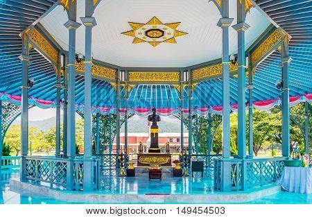 NAKHON NAYOK - SEPTEMBER 20 : King Chulalongkorn Statue in pavilion Chulachomklao Royal Military on September 20 2015 in Nakhon Nayok Province Thailand.