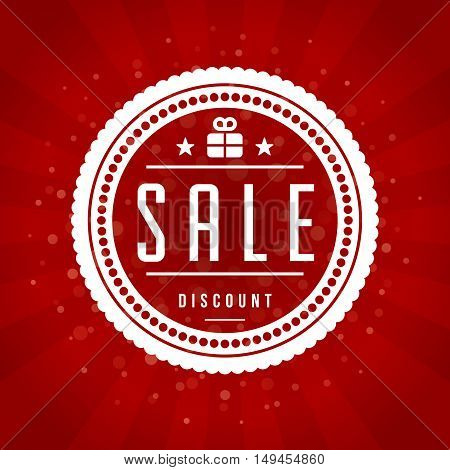 Sale Banner or Label Vector Design for Promotional Brochure or booklet. Red rays background.