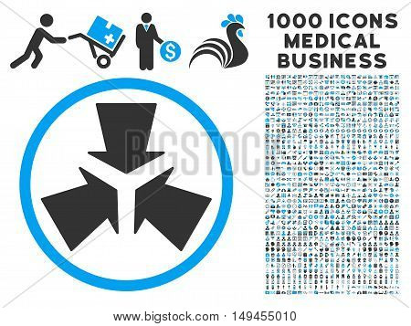 Shrink Arrows icon with 1000 medical commerce gray and blue vector pictographs. Set style is flat bicolor symbols, white background.