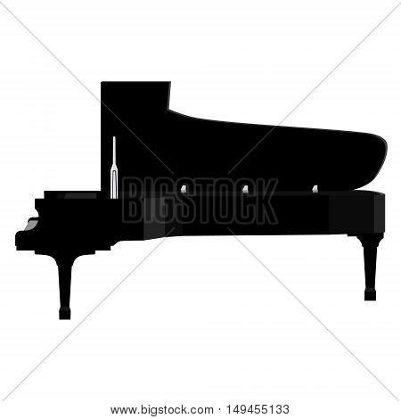 Vector illustration grand black realistic piano. Fortepiano. Musical instrument