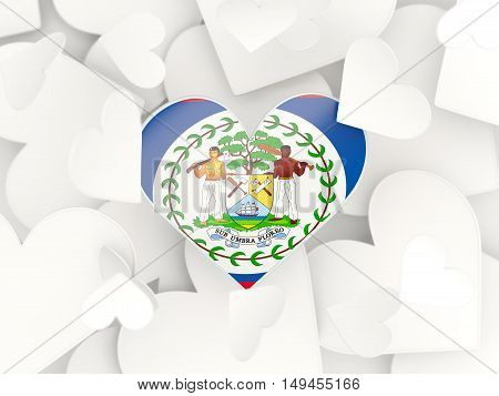 Flag Of Belize, Heart Shaped Stickers
