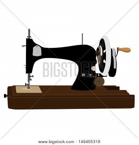 Vector illustration black retro sewing machine. Old vintage sewing machine