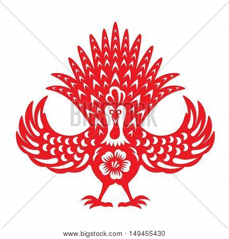 Red paper cut Front chicken rooster zodiac symbols