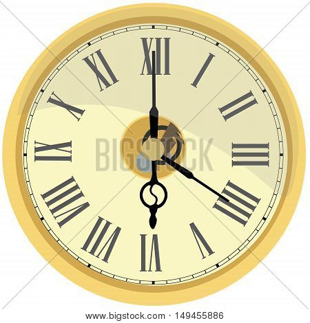 Golden wall clock vector isolated. Clock on wall shows four oclock. Roman numeral clock