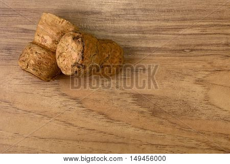 stoppers from champagne on the wooden background