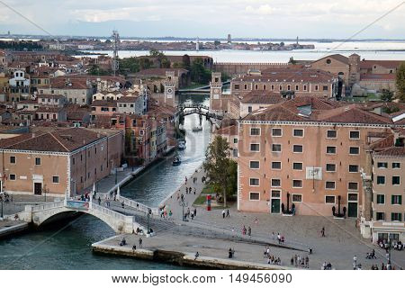 View of the Academy Bridge in Venice (Italy)