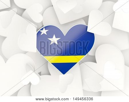 Flag Of Curacao, Heart Shaped Stickers