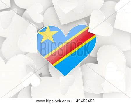 Flag Of Democratic Republic Of The Congo, Heart Shaped Stickers