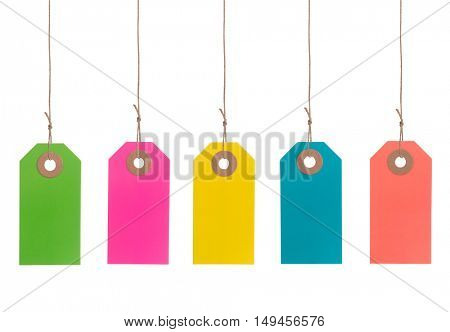 Set of Multicolor tags or labels isolated on white background