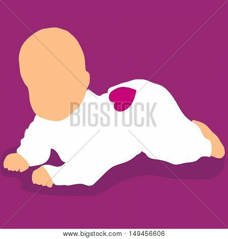 High quality original trendy vector newborn baby lying on floor with heart on back
