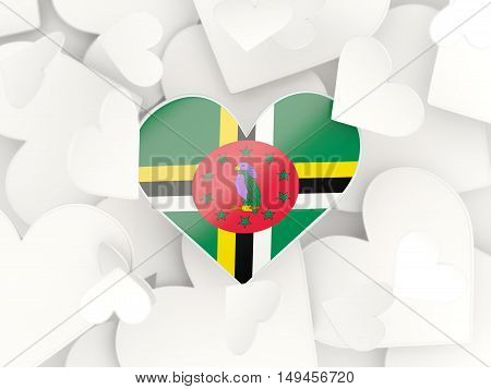 Flag Of Dominica, Heart Shaped Stickers
