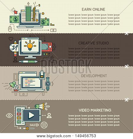 Set fifteen of internet technology banners: earn online, creative studio, development, video marketing