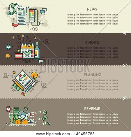 Set twenty five of business banners: news, events, planning, revenue
